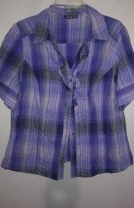 Apt.9 Purple Plaid Cotton Top 1X Plus